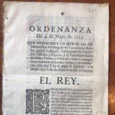 Documentos antiguos: 1733 ORDENANZA REAL VESTUARIO, ARMAMENTO, PISTOLAS, ESPADAS, SILLAS, FRENOS,... CARABINEROS REALES. Lote 208210413