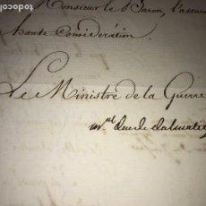 Documentos antiguos: 1815 CARTA GENERAL SOULT, DUQUE DE DALMACIA. COMO MINISTRO GUERRA AL MINISTRO FINANZAS.. Lote 208345465
