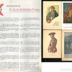 Documentos antiguos: [CARLISMO] POSTALES CARLISTAS - DECLARACIÓN DE D. JAVIER DE BORBÓN PARMA.. Lote 208453111