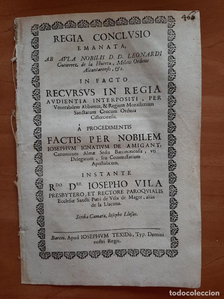 1721 REGIA CONCLUSIO - IGLESIA SAN PEDRO DE VILLA DE MAGER , LA LLACUNA (Coleccionismo - Documentos - Otros documentos)