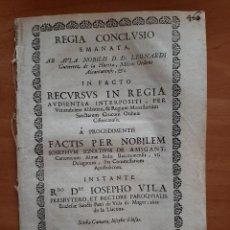 Documentos antiguos: 1721 REGIA CONCLUSIO - IGLESIA SAN PEDRO DE VILLA DE MAGER , LA LLACUNA. Lote 209022433
