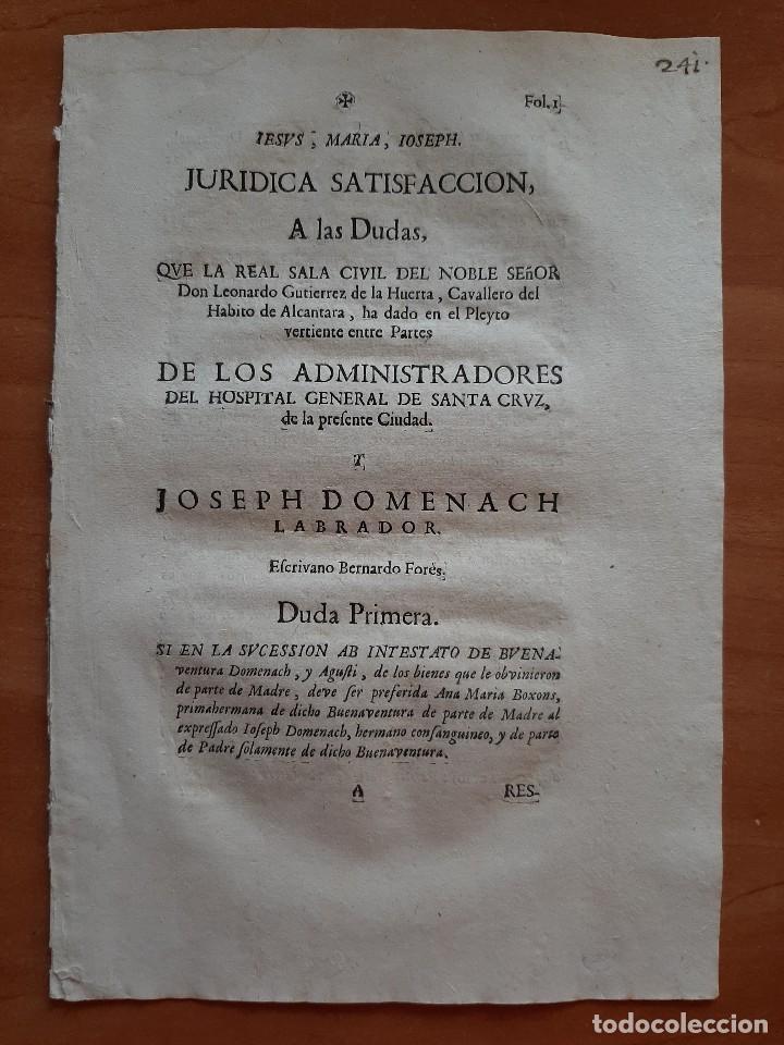 1719 JURIDICA SATISFACCIÓN - HOSPITAL GENERAL DE SANTA CRUZ, BARCELONA (Coleccionismo - Documentos - Otros documentos)