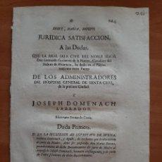 Documentos antiguos: 1719 JURIDICA SATISFACCIÓN - HOSPITAL GENERAL DE SANTA CRUZ, BARCELONA. Lote 209022595