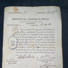 Documentos antiguos: BOLLULLOS-SEVILLA, 1873. EMPRÉSTITO DE 175000 PESETAS. VER. Lote 209092860