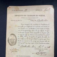 Documentos antiguos: BOLLULLOS-SEVILLA, 1874. EMPRÉSTITO DE 175000 PESETAS. VER. Lote 209644976