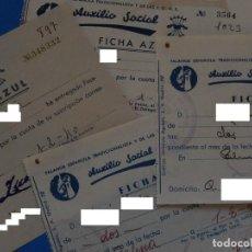 Documentos antiguos: CUATRO RECIBOS. AUXILIO SOCIAL. FICHA AZUL. FALANGE. PALMA. 1940. MALLORCA. BALEARES.. Lote 209790882