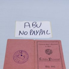 Documentos antiguos: CEDULA PERSONAL AÑO 1942 DIPUTACIÓN FORAL Y PROVINCIAL DE ÁLAVA VITORIA. Lote 209797098