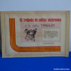 Documentos antiguos: I I I TRONADA DE COLLES VETERANES.COLLA TIMBALER MANRESA.. Lote 209801912