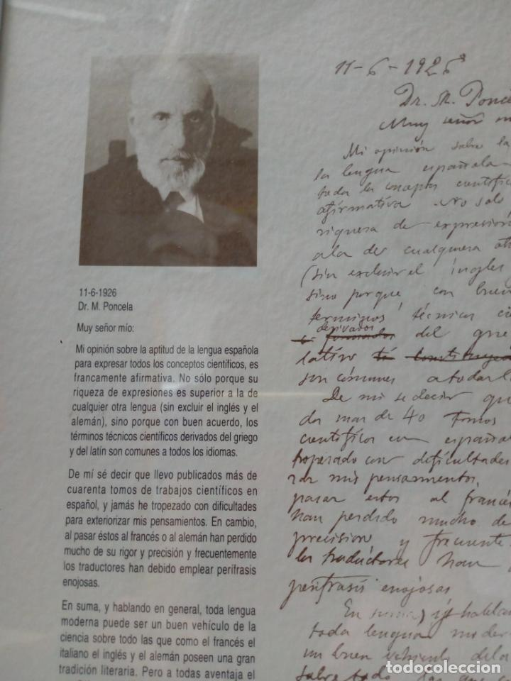 Documentos antiguos: carta de Ramon y Cajal en respuesta al Dr.M.Poncela años 1926 - COTEC 1992 - Foto 2 - 210267026