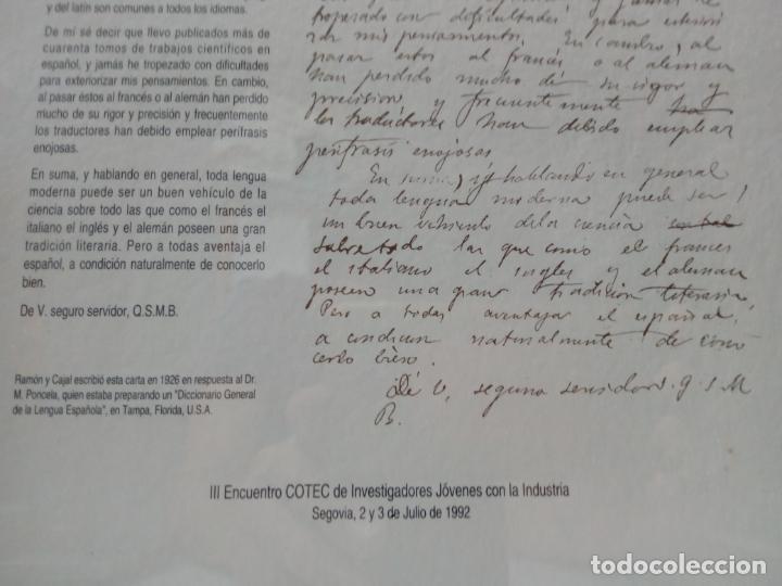 Documentos antiguos: carta de Ramon y Cajal en respuesta al Dr.M.Poncela años 1926 - COTEC 1992 - Foto 3 - 210267026