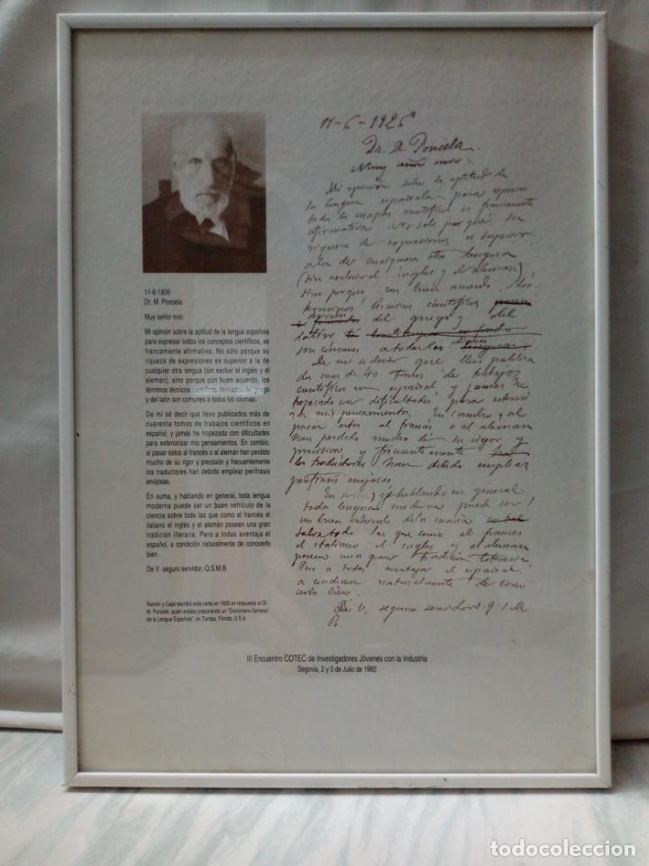 CARTA DE RAMON Y CAJAL EN RESPUESTA AL DR.M.PONCELA AÑOS 1926 - COTEC 1992 (Coleccionismo - Documentos - Otros documentos)