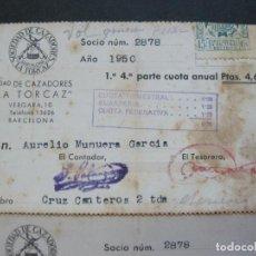 Documentos antiguos: BARCELONA-SOCIEDAD DE CAZADORES LA TORCAZ-CARNETS DE SOCIOS-AÑO 1950-VER FOTOS(V-21.110). Lote 210341006