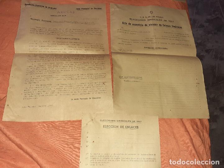 ANTIGUO PAPELETE DE ELECCIONES SINDICALES 1957 ,C.N.S ARUCAS GRAN CANARIA (Coleccionismo - Documentos - Otros documentos)