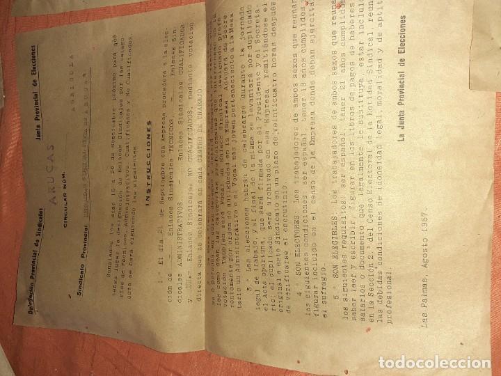 Documentos antiguos: Antiguo papelete de elecciones sindicales 1957 ,c.n.s arucas gran canaria - Foto 2 - 210384830