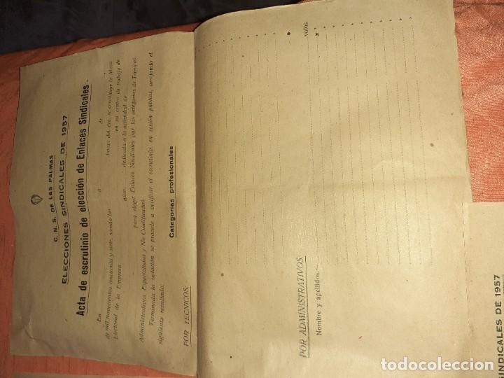 Documentos antiguos: Antiguo papelete de elecciones sindicales 1957 ,c.n.s arucas gran canaria - Foto 3 - 210384830