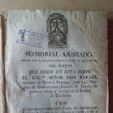 Documentos antiguos: MEMORIAL DEL PLEYTO MARQUES DE GUADALCAZAR, SOBRE PROPIEDAD DE CORTIJO,CORDOBA,1805. Lote 210518731