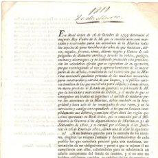 Documenti antichi: ORDEN REAL SOBRE REGULACION DE USO DE ARBOLES Y BOSQUES AL DEPARTAMENTO DE MARINA. 1819. Lote 210569430
