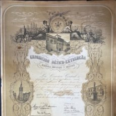 Documentos antiguos: EXPOSICION BETICO EXTREMEÑA. MENCION HONORIFICA A D. MANUEL GROSSO. SEVILLA. 1874. VER FOTOS.. Lote 210825039