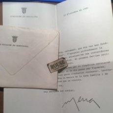 Documentos antiguos: CARTA AUTOGRAFA ORIGINAL DEL EX ALCALDE DE BARCELONA. Lote 210833966