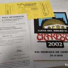 Documentos antiguos: LOT 3 DOCUMENTS DE 2002 ASSOCIACIÓ LLEVA BIBERÓ (GUERRA CIVIL, 1936 - 1939). Lote 211256167