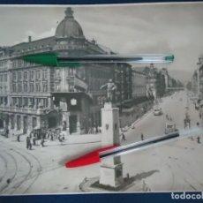 Documentos antiguos: FOTO GRAN VIA PLAZA CIRCULAR BILBAO VIZCAYA TRANVIA TROLEBUS PAIS VASCO EUSKADI TREN ELECTRICO. Lote 211256369