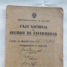 Documentos antiguos: CAJA NACIONAL DE SEGURO DE ENFERMEDAD. 1944. INSTITUTO NACIONAL DE PREVISIÓN. Lote 211788382