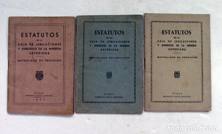 ESTATUTOS DE LA CAJA DE JUBILACIONES Y SUBSIDIOS DE LA MINERIA ASTURIANA. ASTURIAS. 1947 (Coleccionismo - Documentos - Otros documentos)