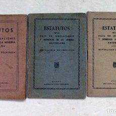 Documentos antiguos: ESTATUTOS DE LA CAJA DE JUBILACIONES Y SUBSIDIOS DE LA MINERIA ASTURIANA. ASTURIAS. 1947. Lote 211826316