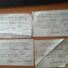 Documentos antiguos: RECIBOS CORTE HONOR DE SEÑORAS A MARÍA STMA DEL PILAR EN SU SANTA Y ANGÉLICA CAPILLA, ZARAGOZA 1946. Lote 211996455