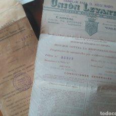 Documentos antiguos: UNIÓN LEVANTINA- SEGURO VEHÍCULO Y RECIBOS PAGO OPEL SEDÁN ZARAGOZA 1935. Lote 211999266