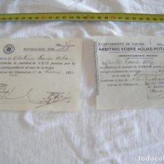 Documentos antiguos: JML LOTE MENSUALIDAD CASINO 1950 Y ARBITRIO AGUAS POTABLES 1949 CUEVAS DEL ALMANZORA ALMERIA VER FOT. Lote 212005342