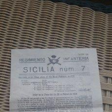 Documentos antiguos: ORDEN MILITAR DEL REGIMIENTO INFANTERIA SICILIA N 7-1928. Lote 212006903