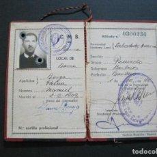 Documentos antiguos: C.N.S.-DELEGACION PROVINCIAL SINDICATOS BARCELONA-CARTILLA PROFESIONAL-AÑOS 40-VER FOTOS-(V-21.311). Lote 212010197