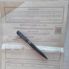 Documentos antiguos: IMPUESTO SOBRE EL LUJO PATENTE CIRCULACIÓN DE AUTOMÓVILES WAUXHALL, GRUPO PSA 1959. ZARAGOZA. Lote 212011865