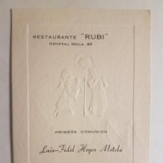 Documentos antiguos: MENU COMUNION RESTAURANTE RUBI 1968. Lote 212344208