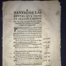 Documentos antiguos: RENTAS ARAGÓN MARQUÉS DE CAMARASA 1658. MUEL, RICLA, CALATORAO, VILLAFELICHE, GODOJOS, ALFAMEN, .... Lote 212721470