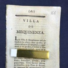 Documentos antiguos: DESCRIPCIÓN DE LA VILLA DE MEQUINENZA DEL AÑO 1779. IMPRESO ORIGINAL.. Lote 212795608