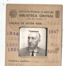 Documentos antiguos: CARNET BIBLIOTECA CENTRAL BARCELONA 1945 1951TARJETA LECTOR FOTO SR J. STADLER WANGLER. Lote 212869090