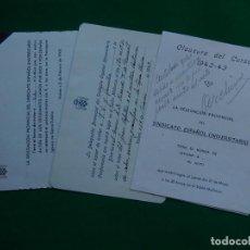 Documentos antiguos: ACTOS DELEGACIÓN PROVINCIAL SINDICATO ESPAÑOL UNIVERSITARIO 1943. PALMA DE MALLORCA. BALEARES. Lote 213012392