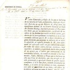 Documentos antigos: ORDEN REAL CONCEDIENDO CRUZ DE DISTINCION A GENERALES, OFICIALES Y TROPA DE LA BATALLA DE VALLS 1815. Lote 213066897