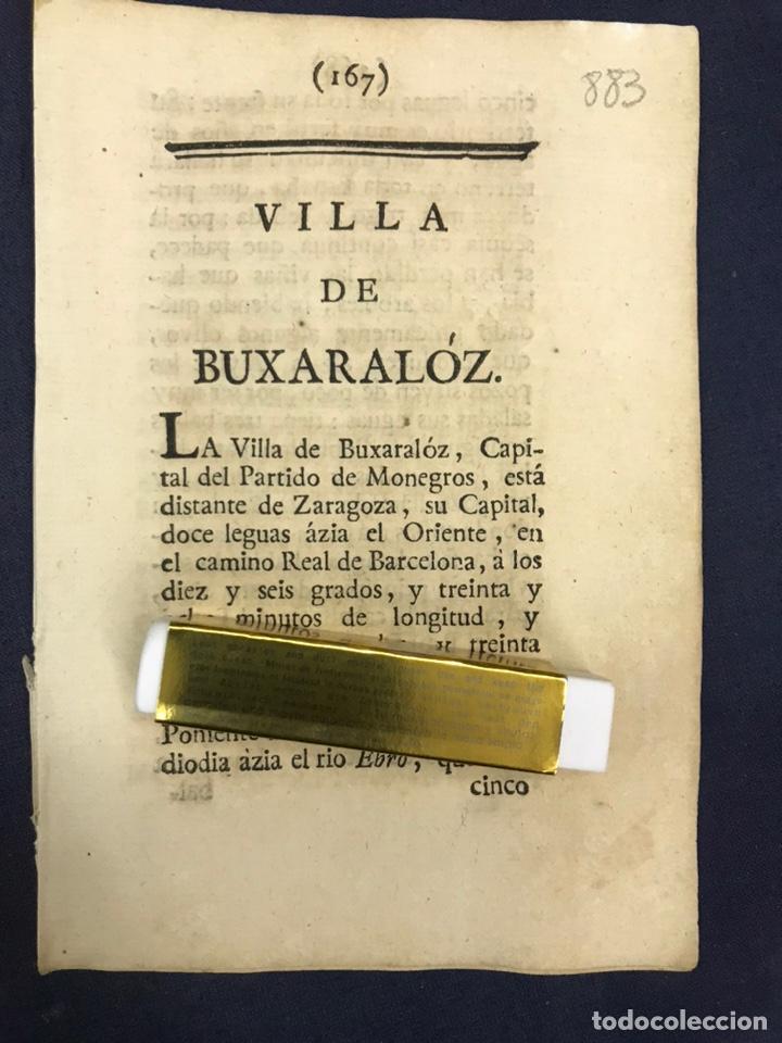 DESCRIPCIÓN DE LA VILLA DE BUJARALOZ, DEL AÑO 1779. IMPRESO ORIGINAL. (Coleccionismo - Documentos - Otros documentos)