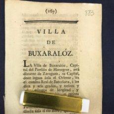 Documentos antiguos: DESCRIPCIÓN DE LA VILLA DE BUJARALOZ, DEL AÑO 1779. IMPRESO ORIGINAL.. Lote 233724905
