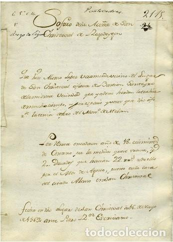 DOCUMENTO S. CRISTOBAL DE REGODEIDON. (Coleccionismo - Documentos - Otros documentos)