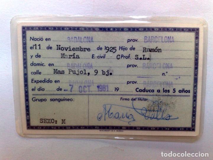 Documentos antiguos: ANTIGUO DOCUMENTO NACIONAL DE IDENTIDAD (D.N.I.) EXPEDIDO 1981 DE PERSONA NACIDA 1925 EN BADALONA. - Foto 2 - 213527491