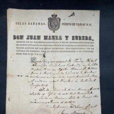 Documentos antiguos: ISLAS BAHAMAS. NASSAU. CONSUL DE ESPAÑA. CONCESION DE PASAPORTE. 1859. CON SELLO. VER FOTOS. Lote 213539960