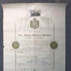 Documentos antiguos: DON ANTONIO MAURA Y MONTANER. PRESIDENTE DEL CONSEJO DE MINISTROS. CONCEDE MEDALLA (A.1908). Lote 213580926