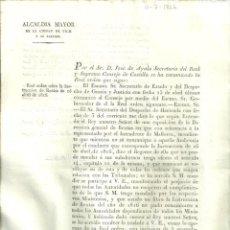 Documentos antiguos: VIC2.- REAL ORDEN SOBRE LA INSTRUCCION DE RENTAS DE 16 DE ABRIL DE 1816. Lote 213720740