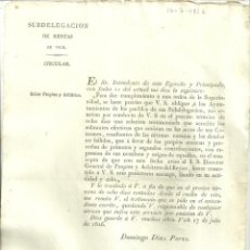 Documentos antiguos: VIC2.- ORDEN INTENDENTE DEL EJERCITO SOBRE PROPIOS Y ARBITRIOS-CIRCULAR DELEGACION RENTAS DE VICH. Lote 213721233