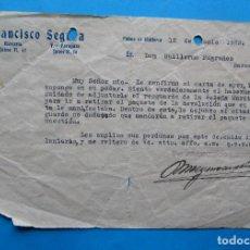 Documentos antiguos: FRANCISCO SEGURA. FÁBRICA DE PARAGUAS. PALMA DE MALLORCA, 1923.. Lote 213722622