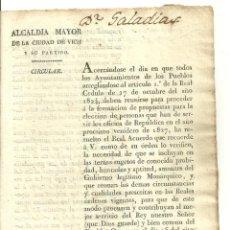 Documentos antiguos: VIC2.-ALCALDIA MAYOR DE LA CIUDAD DE VICH Y SU PARTIDO-REUNION ALCALDES-GOBIERNO MONARQUICO. Lote 213724326